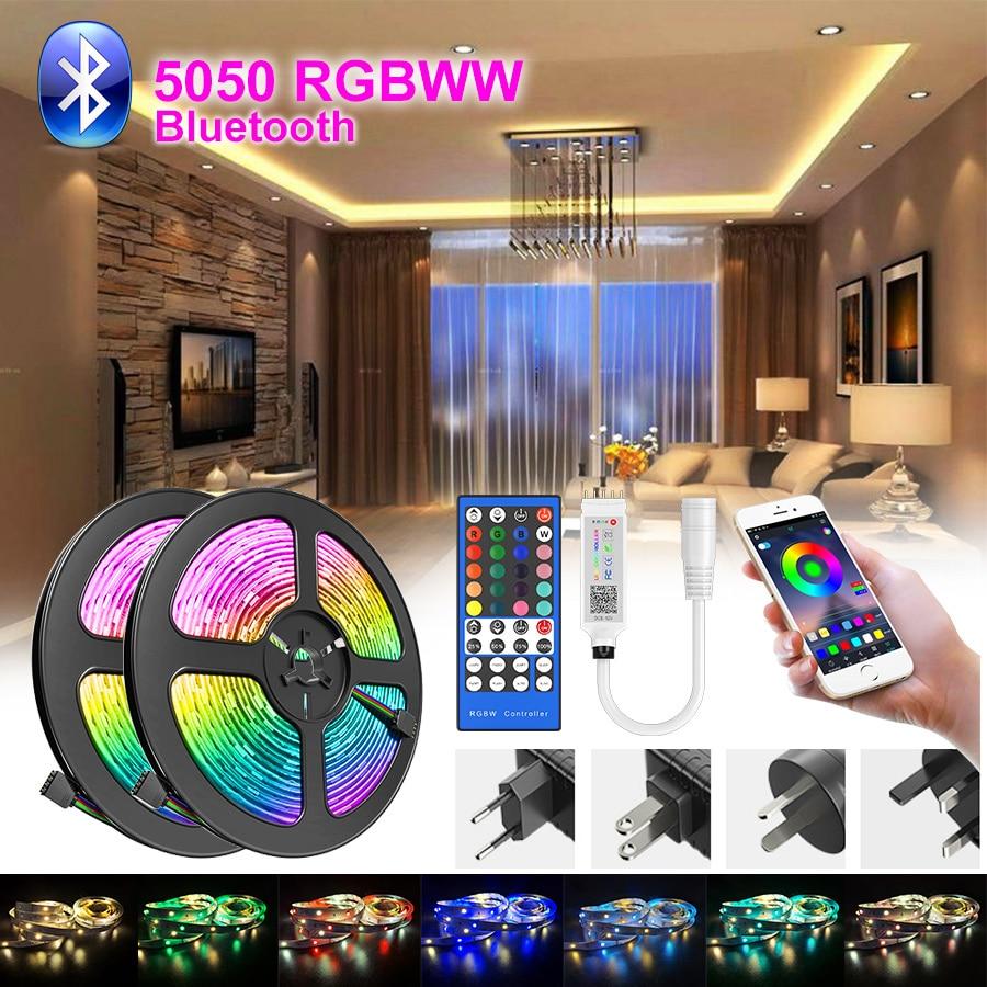 5M-30M listwa Led RGBWW światła wodoodporna 5050 Led z Bluetooth taśmy aplikacja na telefon pilot zdalnego elastyczna lampa taśma wstążka Adapter DC światła Led