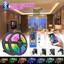 5M-30M RGBWW Led bande lumière étanche 5050 Led Bluetooth bande téléphone App à distance Flexible lampe ruban ruban adaptateur cc lumière Led