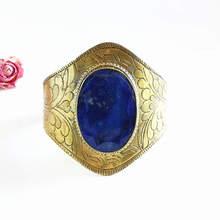 Прекрасный индийский золотой Латунный инкрустированный натуральный Большой Камень Браслет Лазурит широкие открытые манжеты для девочек BB-048