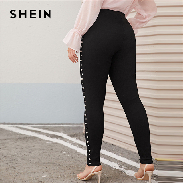 SHEIN Plus Size Pearl Embellished Black Skinny Pants Women Autumn Spring Solid Elegant Long Fitted Trousers Pencil Pants 1