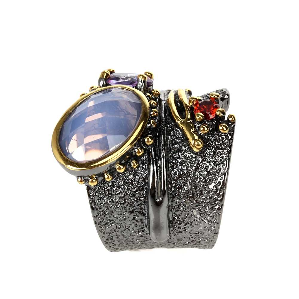 DreamCarnival 1989 New Arrival Binding Look Wedding Ring for Women Black Gold Color with Pink Purple Zirconia Wholesale WA11749