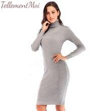 Turtleneck Knitted Mini Dress Pullover Autumn Winter Long Sleeve Sweater Dress Elastic Slim Solid Jumper Dresses Vestidos