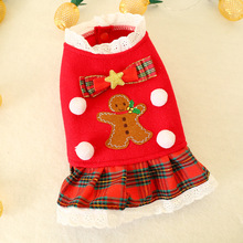 Pet Jacket Coat Autumn and Winter Clothes Christmas Products Red Plaid Skirt Teddy Dog Shirt Supplies