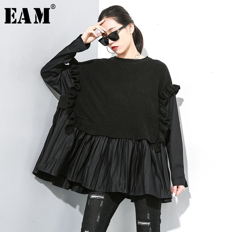 [EAM] Pleated Big Size Knitting Sweater Loose Fit Round Neck Long Sleeve Women Pullovers New Fashion Spring Autumn 2020 1M625