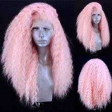 Парик розового цвета харизма, длинные вьющиеся афро парики, синтетический парик на сетке спереди, термостойкие волосы из волокна, парики на ...