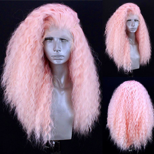 Charisma Pink Wig Long Curly Afro Wigs Synthetic Lace Front Wig High Temperature Heat Resistant Fiber Hair Lace Wigs For Women