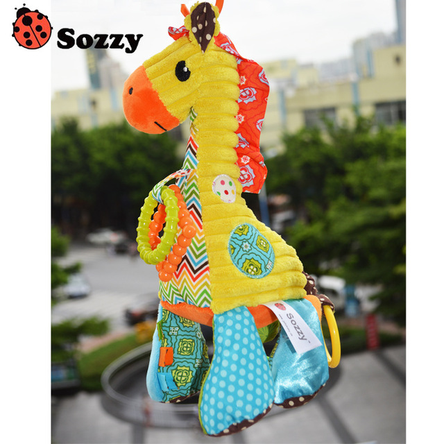 New Arrive Plush Baby Toy Baby Rattle Toys Giraffe Pull Bell Plush Toys Infant Appease Dolls Free Shipping SZ39