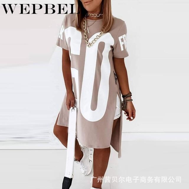 WEPBEL Women Casual Loose Letter Print Shirt Dress Ladies Plus Size Short Sleeve O Neck Mini Dress 3