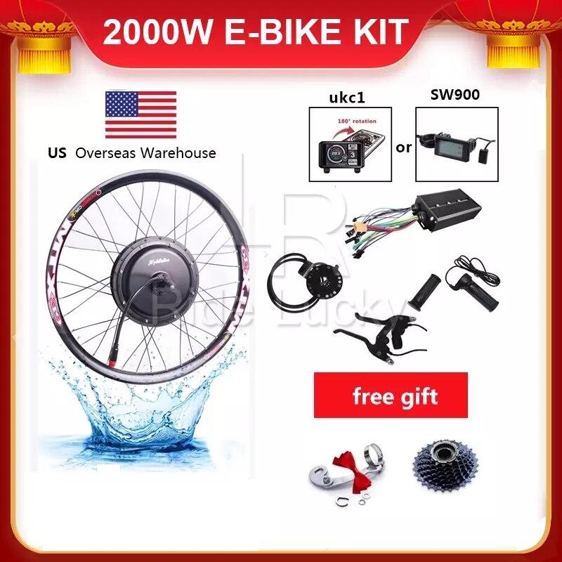 Kit de bicicleta eléctrica de velocidad de 60-75 KM/H, 48v-60v, 2000w, kit de conversión de bicicleta eléctrica con disparador de cable rápido a prueba de agua