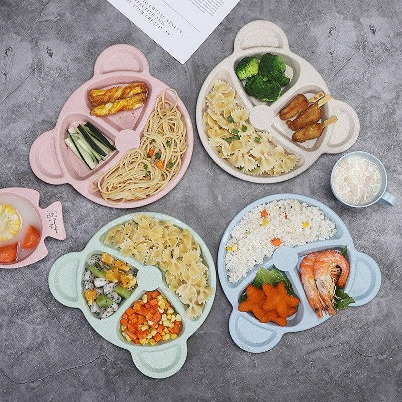 3Pcs/Set Baby Bowl+spoon+fork Feeding Food Tableware Cartoon Bear Kids Dishes Eating Dinnerware Anti-hot Training Dinner Plate
