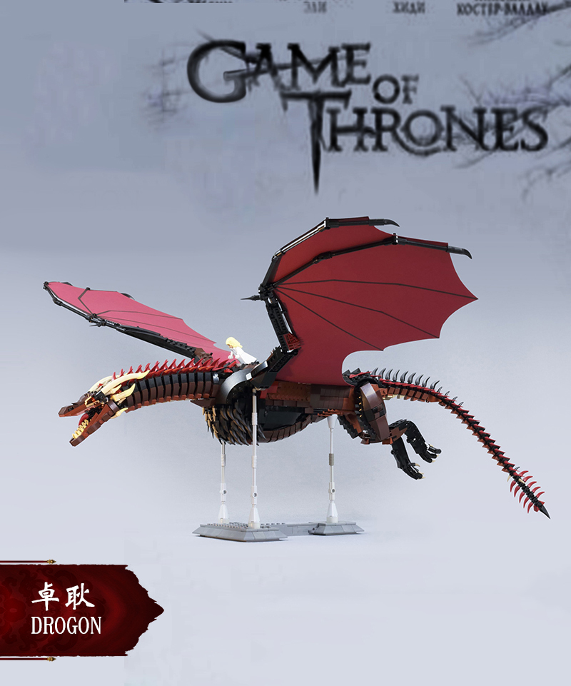 Lepining 2020 New Arrive Presale Games Of Thrones Dragon Black Death Balerion Action Figures Building Blocks Toy For Gift