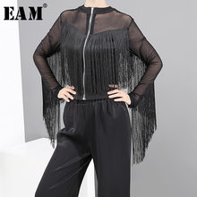[EAM] Loose Fit Black Perspective Tassels Jacket New Stand Collar Long Sleeve Women Coat Fashion Tide Autumn Winter 2019 1D668(China)
