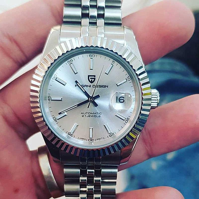 パガーニデザインメンズ腕時計高級ダイヤモンド腕時計自動機械式時計男性 100 メートル防水黒ステンレス鋼腕時計