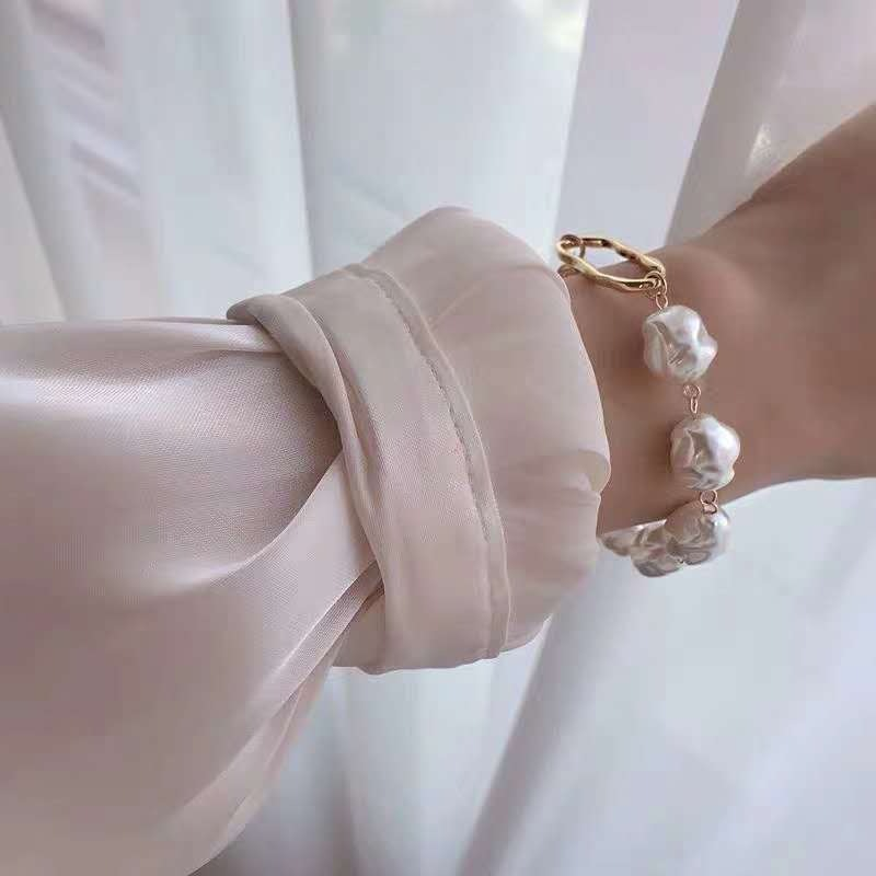 KMVEXO Baroque Irregular Simulated Pearls Gold Color Bracelets for Women Girls Summer Party Wedding Jewelry Bangles Gifts 2019