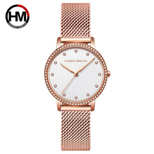 Luxury Rose Gold Ladies Watch High Quality Crystal Stainless Steel Mesh Band Japan Quartz Movement Waterproof Watch For Woman hannah martin luxury brand waterproof watch men s casual business stainless steel mesh band japan movement quartz watch fashion
