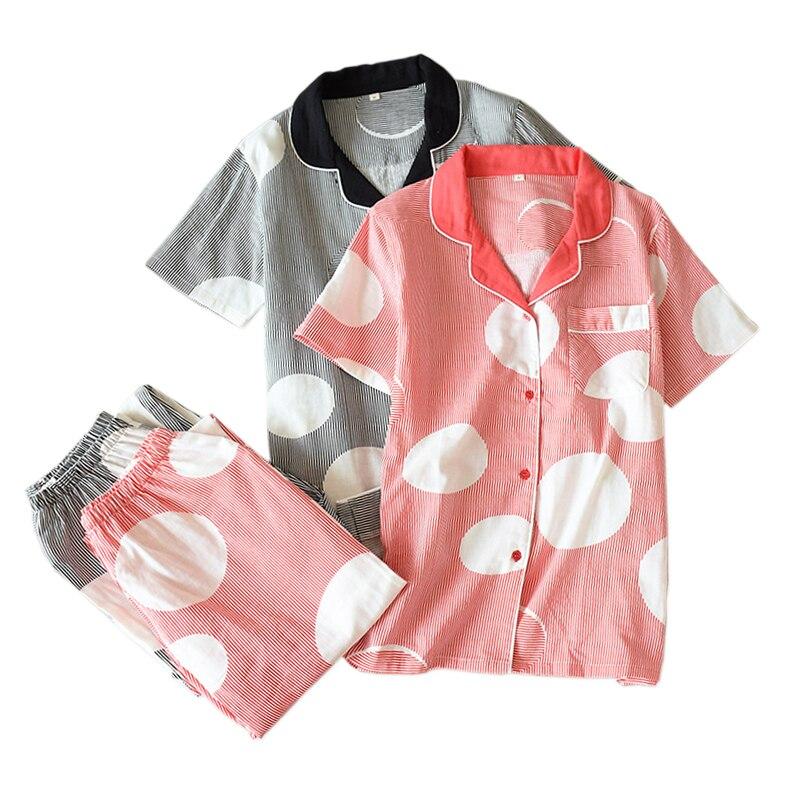 Fresh summer short sleeve pyjamas women sleepwear 100% gauze cotton women casual Japanese pajamas sets women homewear hot SalePajama Sets   -