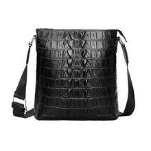 Mens Genuine Leather Business Crossbody Messenger Crocodile Pattern Shoulder Sling Zipper Tote Bag