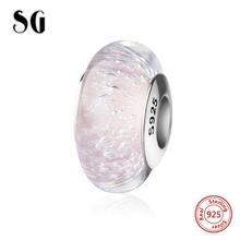 SG sparkling Murano glass beads light pink color charms silver 925 fit authentic pandora bracelets fashion jewelry making gifts