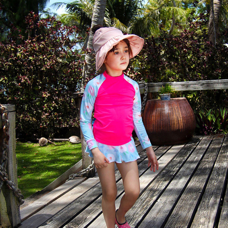 South Korea New Style Split Type Children Baby Bathing Suit Girls Swimwear Long Sleeve Boxers Skirt Sun-resistant Little Big Chi