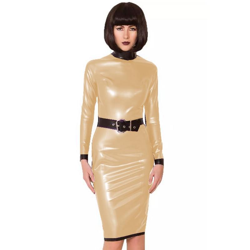 24 Colors Back Zipper Long Sleeve Knee Length Dress Lady Slim Vestido Fashion Patchwork Color Midi Dress Sexy Stage PVC Clubwear 18