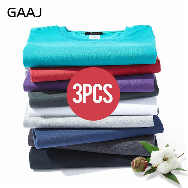GAAJ T Shirt Women 100 Cotton 3 Pieces Pcs Tshirt Basic Blank T-shirt Woman 3 Pack Solid Tops Streetwear Tee Shirt 4XL 5XL 6XL