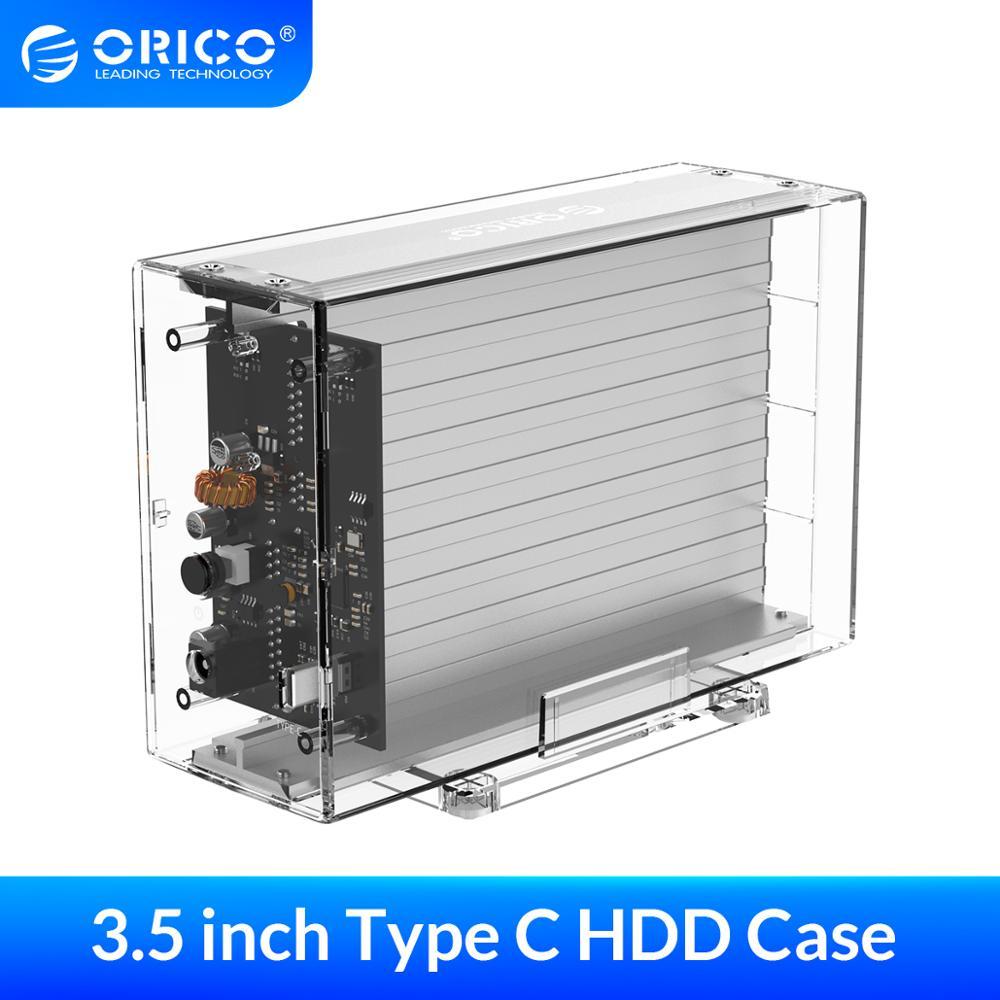 ORICO Type C Dual Bay Portable Hard Drive Enclosure SATA To USB C Transparent HDD Dock Station UASP 24TB Add 12V Power Adapter