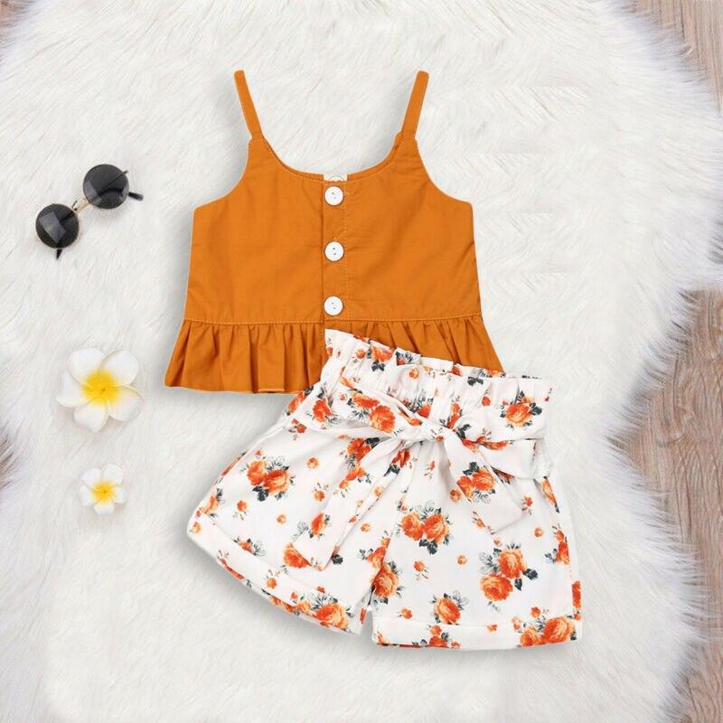Toddler Kids Baby Girl Summer Tops T-shirt Shorts Pants 2Pcs Outfits Clothes Set