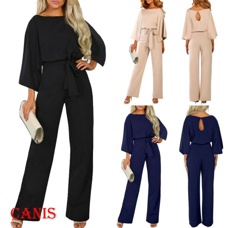 2019 Autumn New Fashion Womens Elegant Size10-16 Ladies Office Wide Leg Party OL Playsuit Evening Casual Jumpsuit