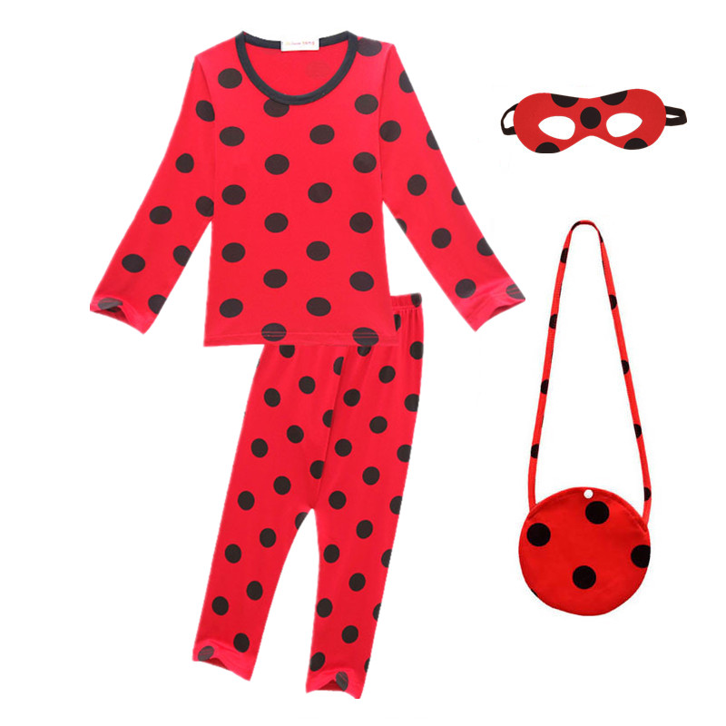 Girls Boys Fantasia Spandex Redbug Costumes Kids Christmas Party Clothes Children Red bug Pajamas Home Wear for Girl with Bag