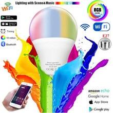 Wifi inteligente lâmpada led e27 controle remoto ou siri voz pode ser escurecido alexa google assistente casa rgb AC85V-265V ios android tuya
