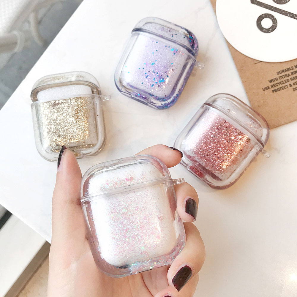 Liquid Quicksand Earphone Case For Apple Airpods 2 1 Air Pods Glitter Sequins Headphone Headset Cover AirPod Protector Shell