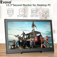 EYOYO 13.3 2560X1440 Portable PC Gaming Monitor IPS Game Monitor with HDMI Input for Switch Raspberry LCD LED Display Monitor