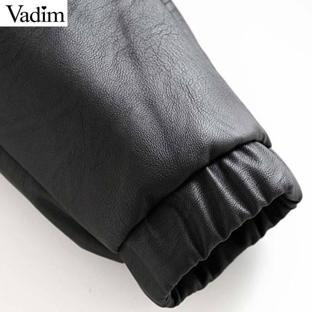 Vadim women chic PU leather pants solid elastic waist drawstring tie pockets female basic elegant trousers KB131 6