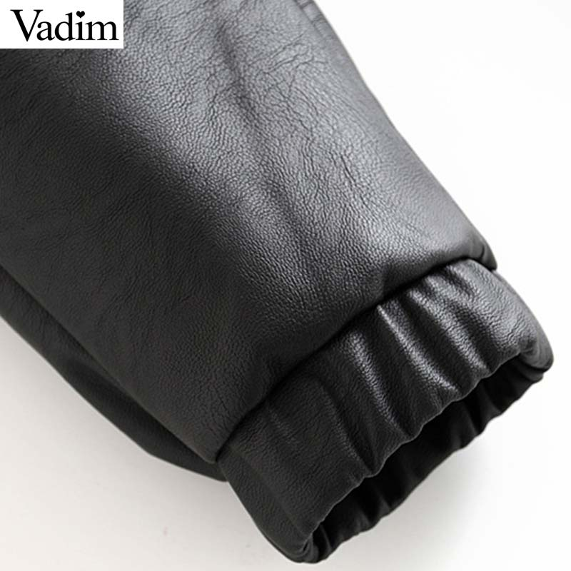 Vadim women chic PU leather pants solid elastic waist drawstring tie pockets female basic elegant trousers KB131 6