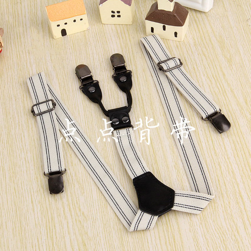 Elasticity Suspender Strap Children Genuine Leather Suspender Strap Clip Baby Suspender Strap 4 Clip Suit Back Belt Suspenders M