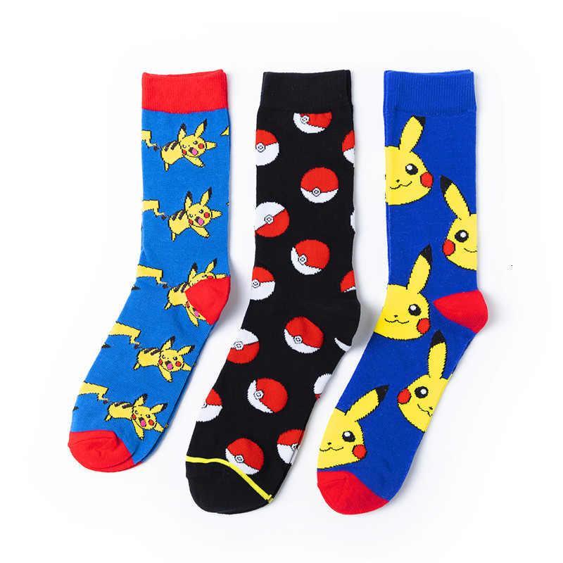 New Fashion Pokemon Ball Socks Men Funny Cartoon Pikachu Spirit Printed Cotton Calcetines Harajuku Christmas Happy Socks Men