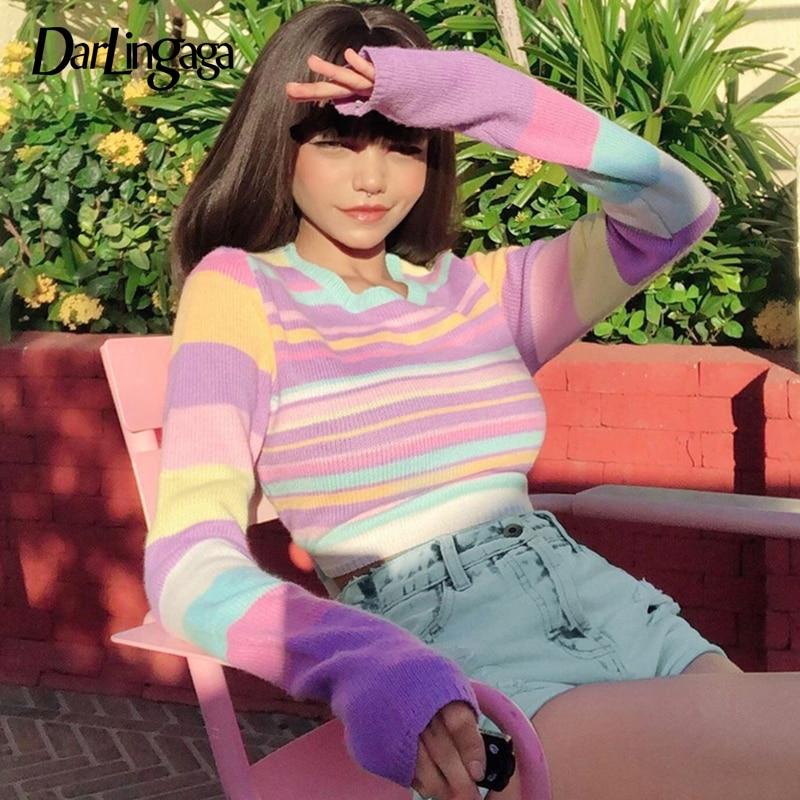 Darlingaga Sweet Rainbow Stripe Slim Autumn Woman Sweaters Basic y2k Cropped Top Pullover Harajuku Knitted Sweater Korean Jumper