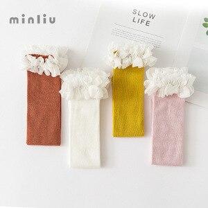 Image 5 - Dziewczynek podkolanówki koronki oddychające skarpetki dla dziewczynek bawełniane stałe słodkie kolana wysokie skarpety zimowe utrzymać ciepłe jednolity rozmiar 1.3kg #43