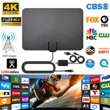 Antenne numérique HDTV amplifiée d'intérieur 4K, portée de 1280 Miles pour la diffusion sur les chaînes locales