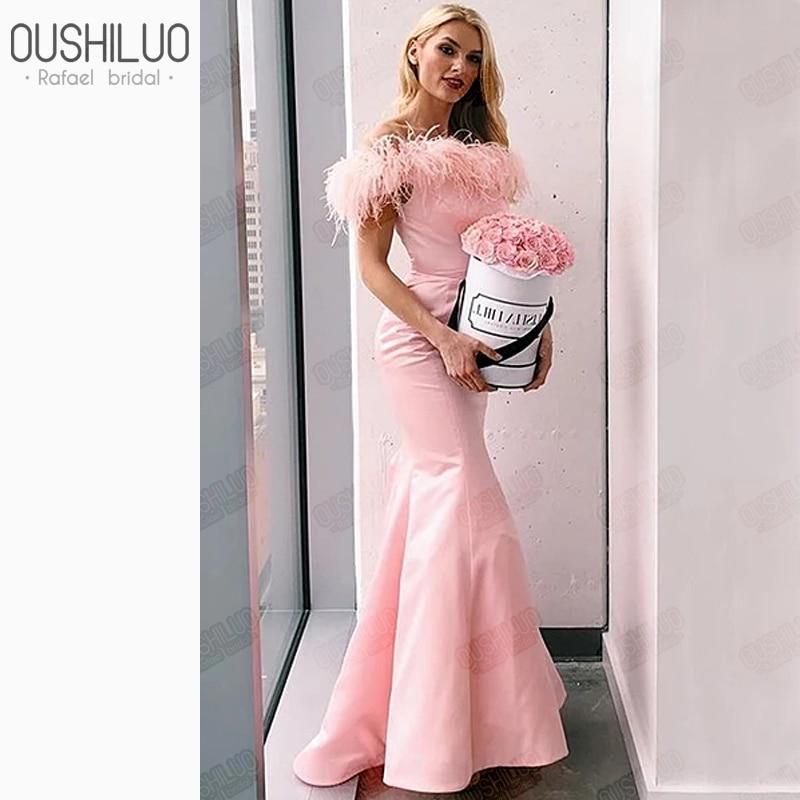 Nouvelles robes de plumes parti femmes hors épaule robes de bal Satin sirène rose plume robe tenue de fête pour les africains