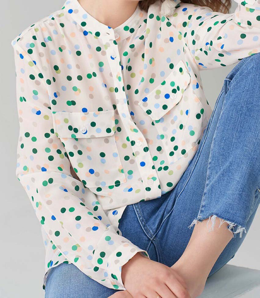 Women <font><b>Shirt</b></font> <font><b>Blue</b></font> Green <font><b>Polka</b></font> <font><b>Dot</b></font> Silk <font><b>Shirt</b></font> Light Macaron Wave Point Fresh Color Double Pocket Sand Wash Silk image