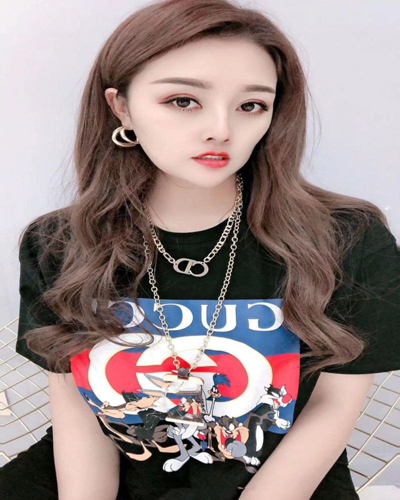 2021 New Summer Fashion Co Branded Short Sleeve T-shirt Women's Loose Round Neck Printed Top