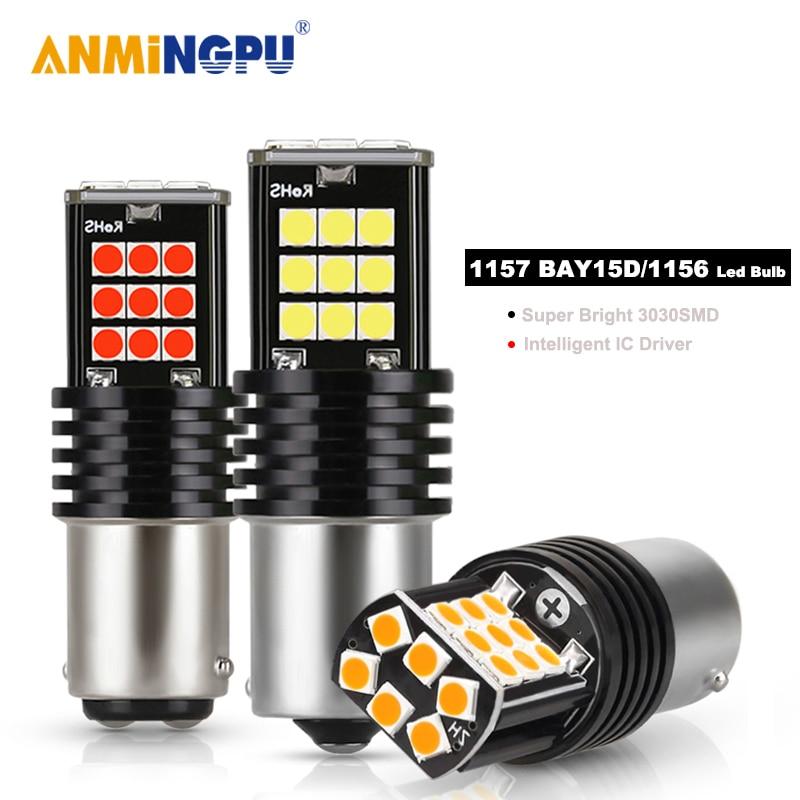 ANMINGPU 2x Signal Lamp Bay15d Led 1157 P21 5W 3030SMD Super Bright BA15S P21W BAU15S PY21W 1156 LED For Car Brake Backup Light