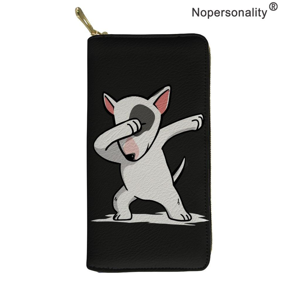 Nopersonality Funny Bull Terrier Women Luxury Wallets Casual Female Card Coin Holder Cases Waterproof Travel Purse Phone Bags