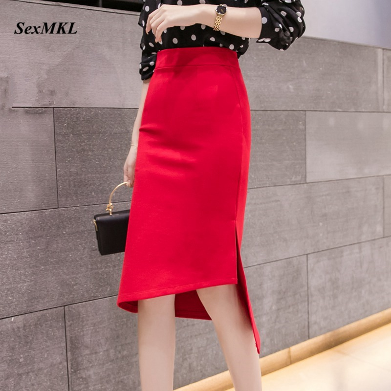 Plus Size High Waist Skirt Women 2020 Fashion Summer Red Long Skirts Womens Korean Style Irregular Office Sexy Black Skirt