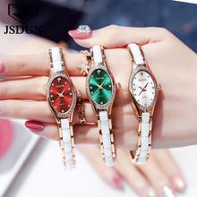 JSDUN Vogue owalne małe zegarki tarczowe dla kobiet elegancka bransoletka ze strasami zegarek damski diamentowa sukienka zegarek kwarcowy na rękę Relogio tanie tanio OLEVS QUARTZ Przycisk ukryte zapięcie STAINLESS STEEL 3Bar Luxury ru 30mm ROUND 7 5mm Odporne na wodę Odporny na wstrząsy