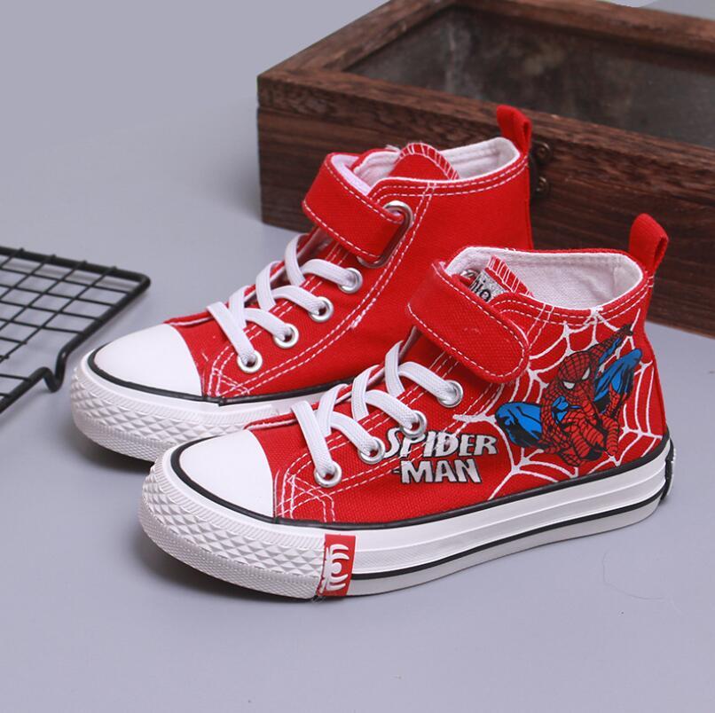 Meninos novo dos desenhos animados spiderman hight-top sapatos de lona crianças anti-deslizamento coreano-estilo tênis casuais