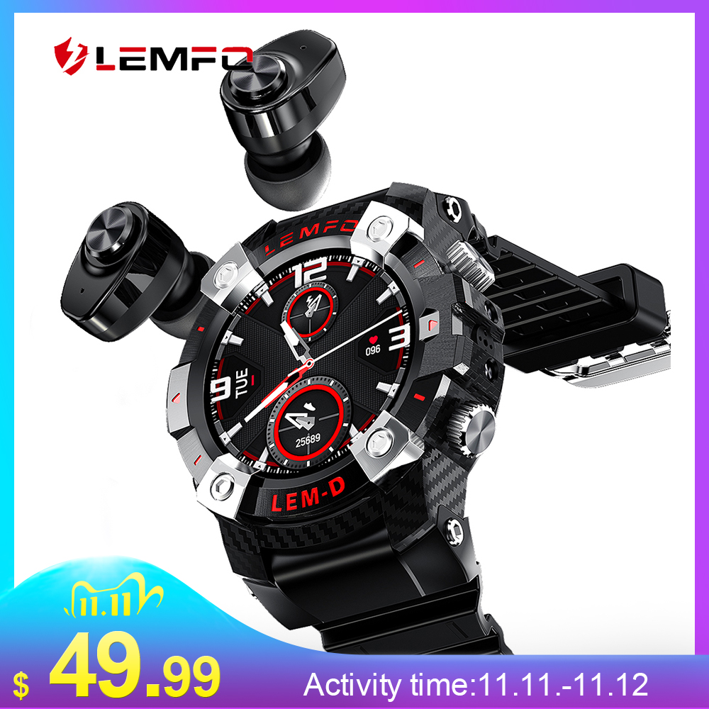 LEMFO LEMD 2020 Sport Smart Watch TWS Bluetooth Earphone 2In1 360 360 HD Display 350Mah Battery Multi Language Smartwatch Men