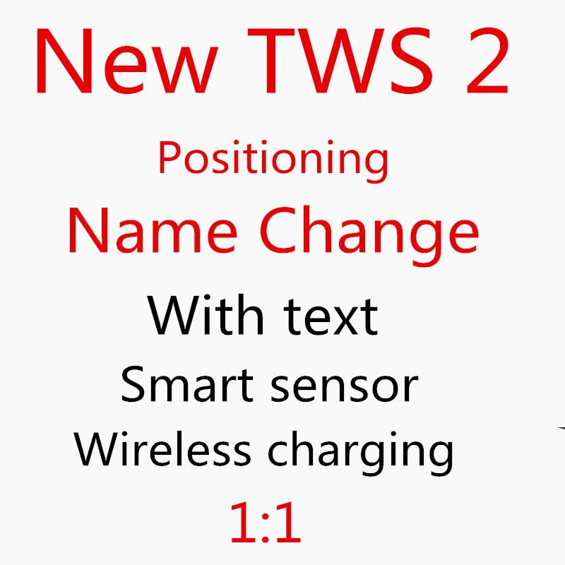 New TWS 2 1:1 Positioning +Name Change Smart Sensor Wireless Charging Bluetooth Earphone Wireless Headset High Quality PK Aire 2