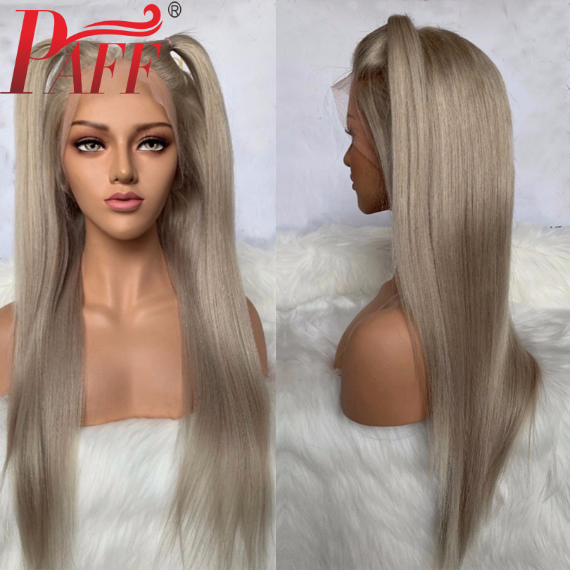 PAFF Transparent Lace Lace Front Human Hair Wigs Ash Blonde Color Silky Straight Brazilian Remy Hair Pre Plucked Baby Hair